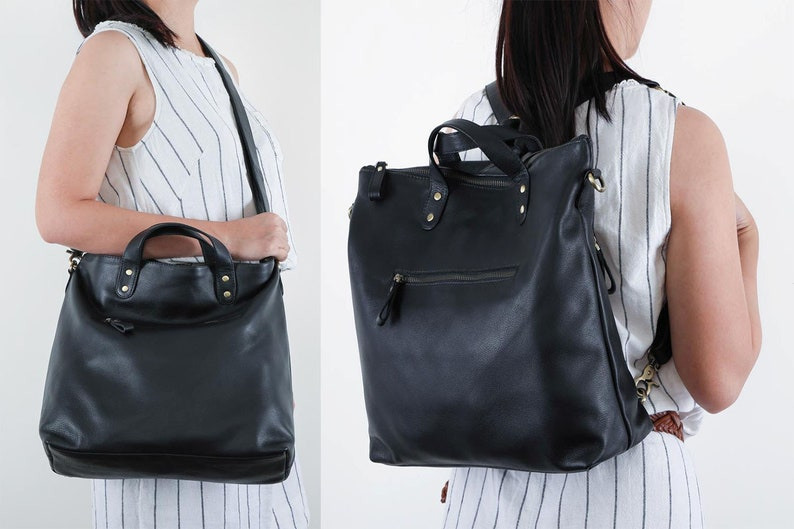 Black leather tote backpack Soft leather tote bag Crossbody