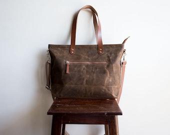 Waxed canvas bag, Waxed canvas zipper bag, Waxed canvas diaper bag, Laptop bag tote, Waxed canvas satchel, Canvas shoulder bag, Cocoa brown