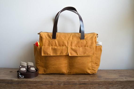 Waxed Canvas Bag 11 Pocket Diaper Bag Waxed Canvas Diaper Etsy