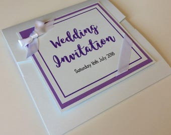 Pocket fold  wedding Invitation with modern calligraphy font and ribbon detail