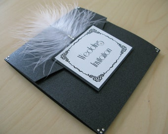 SAMPLE INVITE of a Pocketfold Wedding Invitation with feather //vintage hollywood style //1920s