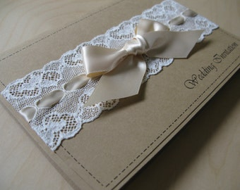 Pocket fold wedding Invitation with rustic brown card, lace and ribbon