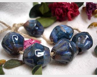 Double cone blue ceramic beads, Artisan craft glazed ceramic beads, AniFlowerbells #382
