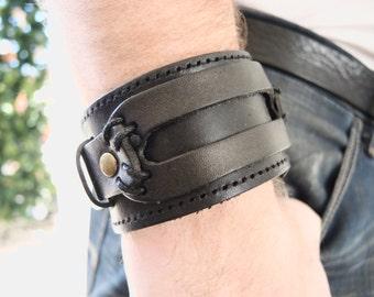 Wide genuine leather bracelet