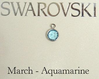 Swarovski birthstone charm, March birthstone charm, Swarovski Aquamarine birthstone charm, March Birthday, Aquamarine, swarovski channel