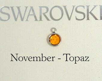 Swarovski birthstone charm, November birthstone charm, Swarovski Topaz birthstone charm
