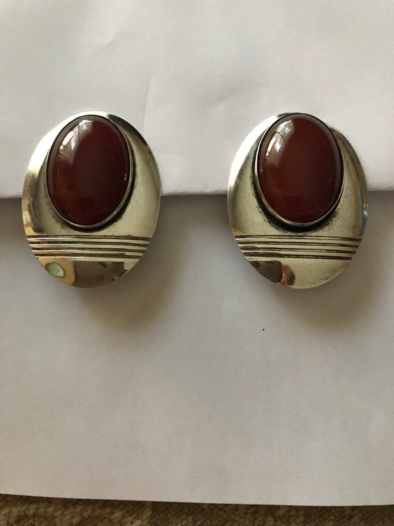 Large Silver Carnelian Earrings Clip On Signed Sub