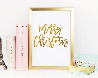 merry christmas printable art instant download black and white gold print home decor gift wishes saying typography digital art