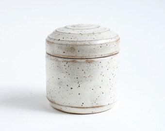 Keepsake Speckled White Pet Urn - small pet urn, keepsake urn, urn for ashes