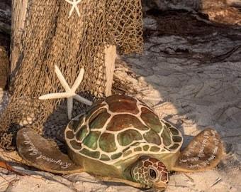 Painted Turtle Urn - custom urn, biodegradable, cremation, funeral, turtle urn, sea turtle, ocean urn, ocean burial urn