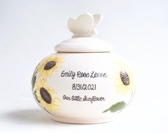 RESERVED FOR Amanda & James - Custom Baby Urn - urn for infant, handmade urn, sunflowers urn, urn with flowers, handmade baby urn