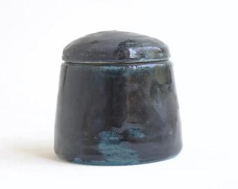 """Small Shiny Black Urn - 3""""h - 4 oz - small pet urn, keepsake urn, small black urn"""