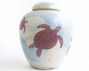 Large Turtle Urn - 200 lbs - cremation urn, adult urn, funeral urn, urn with turtles, ceramic cremation urn