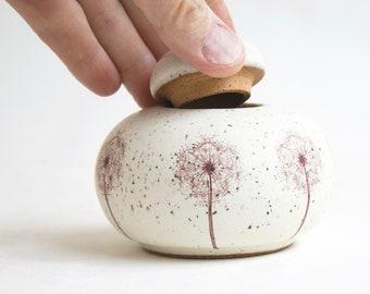 "Dandelion Urn -  2.75"" - 10 lbs - urn with dandelions, flower urn, infant urn with dandelions, urn for baby, small pet urn"