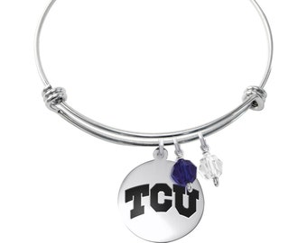 Texas Christian University Horned Frogs Bracelet | Stainless Steel Adjustable Bangle | Three Styles | Officially Licensed
