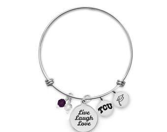 Texas Christian University Horned Frogs Bangle Bracelet | Custom College Bracelets | Graduation Bracelets | Inspirational Bracelets