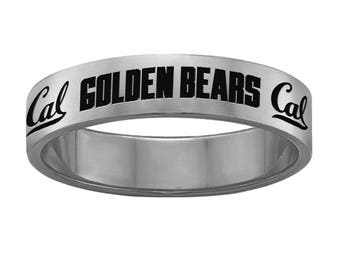 California Berkeley Golden Bears Ring |Stainless Steel | 6mm and 8mm Widths | Officially Licensed | Band Style College Rings