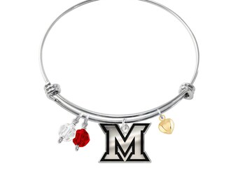 Miami Redhawks Sterling Silver Adjustable Bangle Bracelet. 3 Charm Styles Available
