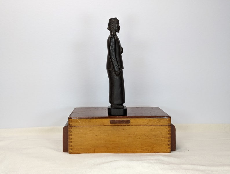 Antique Folk Art Wood Carving of a Man Holding an Umbrella in Traditional Dress Clean Hand Carved from Zitan Wood British Burma 1930-1940