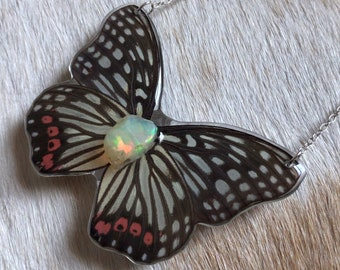 Opal Butterfly Necklace / Real Butterfly Jewelry / Specimen Jewelry / Sterling Silver Butterfly / Resin Insect Jewelry / Entomology / Curio