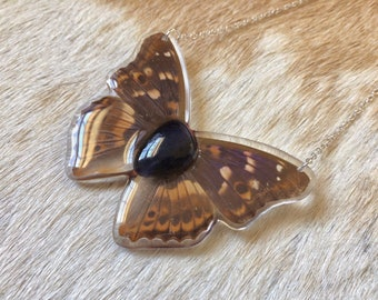 Real Butterfly Necklace, Iolite Pendant, Purple Butterfly Jewelry, Resin Insect, Nature Inspired, Forest Accessories, Boho Style