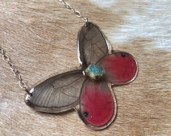Real Butterfly Necklace, Raw Welo Opal Jewelry, Nature Inspired, Insect Art, Taxidermy Jewelry, Resin Insect, Sterling Silver Butterfly