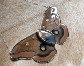 Polyphemus Moth / Resin Insect Jewelry / Real Butterfly Necklace / Specimen Jewelry / Taxidermy Jewelry / Entomology / Natural History