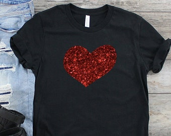 ded4189d women's glitter heart shirt - valentines day shirt - glitter heart shirt - heart  shirt - valentines day gift - gift for her - womens shirt