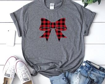 Christmas buffalo plaid t-shirt, Cute winter shirt,Women's holiday shirt,Funny Xmas tee, Xmas outfit,Christmas shirt,Cute Christmas shirt,