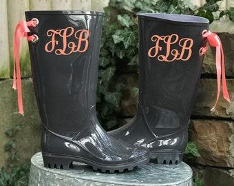 78c32b73d13ae Monogram rain boots | Etsy