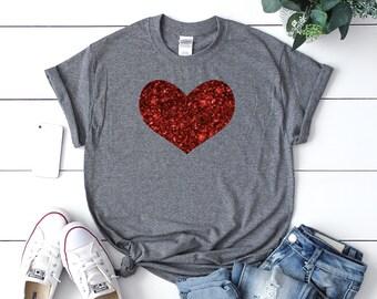 c50d7900615d Women's valentines day shirt, Cute Valentines day shirt, Glitter heart shirt