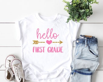 046ee01e81dd first grade shirt, hello first grade shirt, first day of school shirt, 1st  grade tee, announcement first grade tee, first grade tee