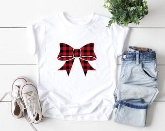 Kids Holiday Shirt,Buffalo plaid top, Kids Christmas Shirt,Christmas Shirt,Christmas Celebration, bow shirt, Holiday outfit, Kids Xmas top