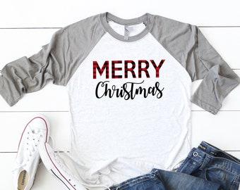 e49e0e32 Buffalo plaid shirt,Womens holiday tee,Christmas party shirt,Women's  Christmas shirt,Christmas top,Cute holiday t-shirt,Women's xmas t-shirt