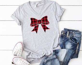 Christmas t-shirt,buffalo plaid t-shirt,Christmas party shirt, Women's Christmas shirt, Women's Christmas top, Women's holiday tee, Xmas tee