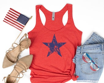 Royal Blue or Red Racerback Tank Top 4th of July Tank Top Fireworks and Freedom Shirt