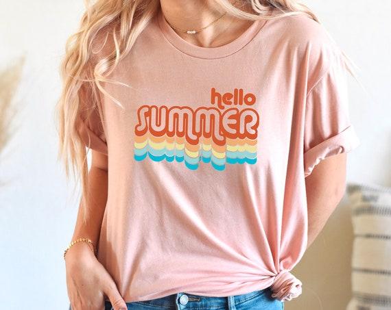 Hello summer shirt, summer shirt, vacation shirt, summer tank, retro summer shirt, beach vacation tank, beach day tank, summer birthday gift
