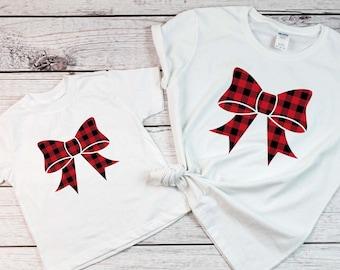 Matching Mommy and me Christmas shirts, Buffalo plaid shirt, Christmas shirts,Holiday shirts,Merry shirts,Xmas matching outfit, Bow shirt