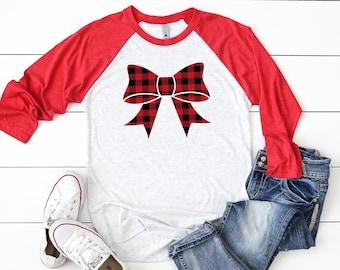 Buffalo plaid top, Women's bow shirt, Cute holiday tee, Christmas party shirt,Women's Christmas shirt,Christmas top,Cute holiday t-shirt