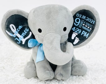personalized elephant, stuffed animal gift, baby shower gift, newborn gift, new baby gift, birth announcement, baby gift, welcome home baby