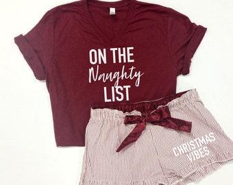 on the naughty list womens pj set cute christmas pajamas xmas pajamas womens christmas pajamas naughty pajamas gift for wife - Christmas Pajamas Women