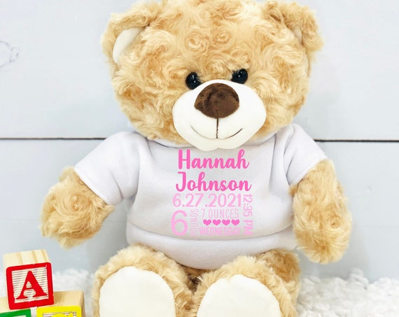 personalized stuffed animal, stuffed animal birth stats, baby shower gift, newborn gift, new baby gift, birth stats, baby gift, birth stats