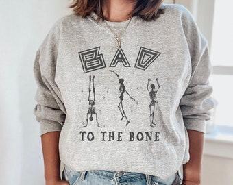 Bad to the bone shirt, skeleton halloween shirt, womens halloween shirt, halloween shirt women, funny halloween shirt, fall shirt,