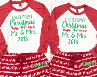 couples first christmas couples christmas pajamas newlywed pajamas for christmas custom christmas pajamas first christmas couples