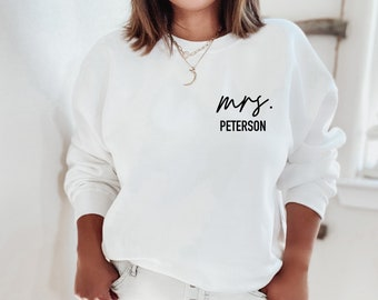Mrs. Sweatshirt, future mrs sweatshirt, personalized gift for bride, wedding gift, honeymoon pajamas, bride to be gift, engagement gift