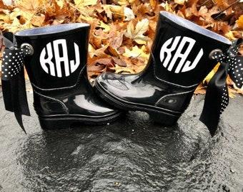 71425881249 Youth monogram rain boots - wellies - kids rain boots - rain boots - rain  boots with bows - monogrammed boots -monogram youth boots