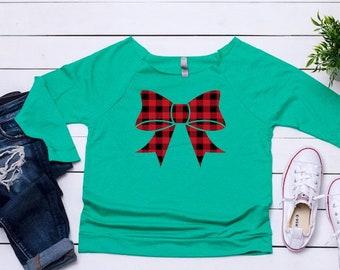 Ugly Christmas sweater, Women's Buffalo plaid top, Women's holiday top, Cute sweater, Christmas top ,Cute holiday t-shirt,Women's xmas shirt