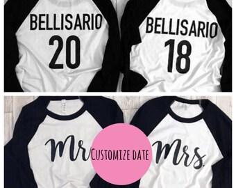 1e3d43be couples baseball shirt - mr and mrs baseball tee - couple baseball tee -  wedding gift - bridal party gift - engagement gift - gift for bride
