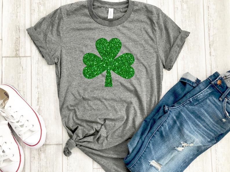c38de5d60f9c26 Womens irish shirt glitter shamrock tee irish af tee St.