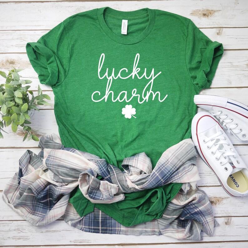 62aa87c10ec6ed Womens st pattys day shirt shamrock tee lucky charm shirt